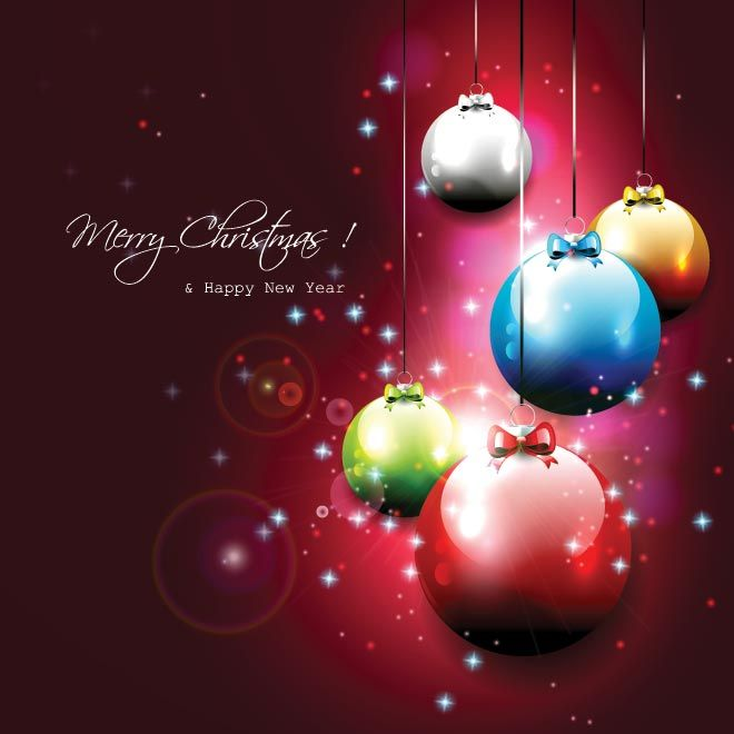 Free vector illustration of colorful christmas balls hanging on red free vector illustration of colorful christmas balls hanging on red abstract glowing merry christmas and happy new year greeting card and wa m4hsunfo