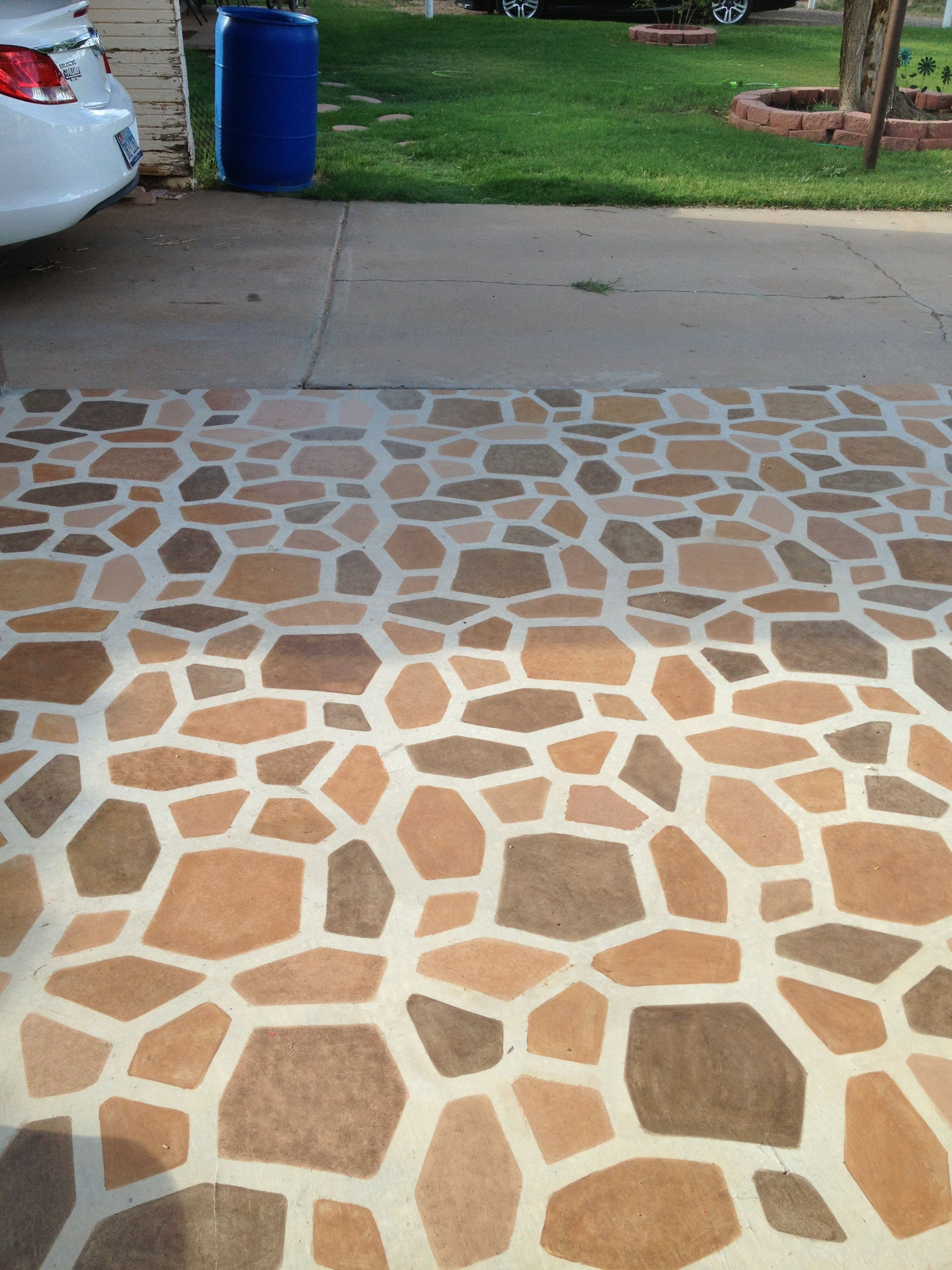 Stained Patio Stones Using A Path Mold Then Painted Grout With Cement Paint  Then Sealed!