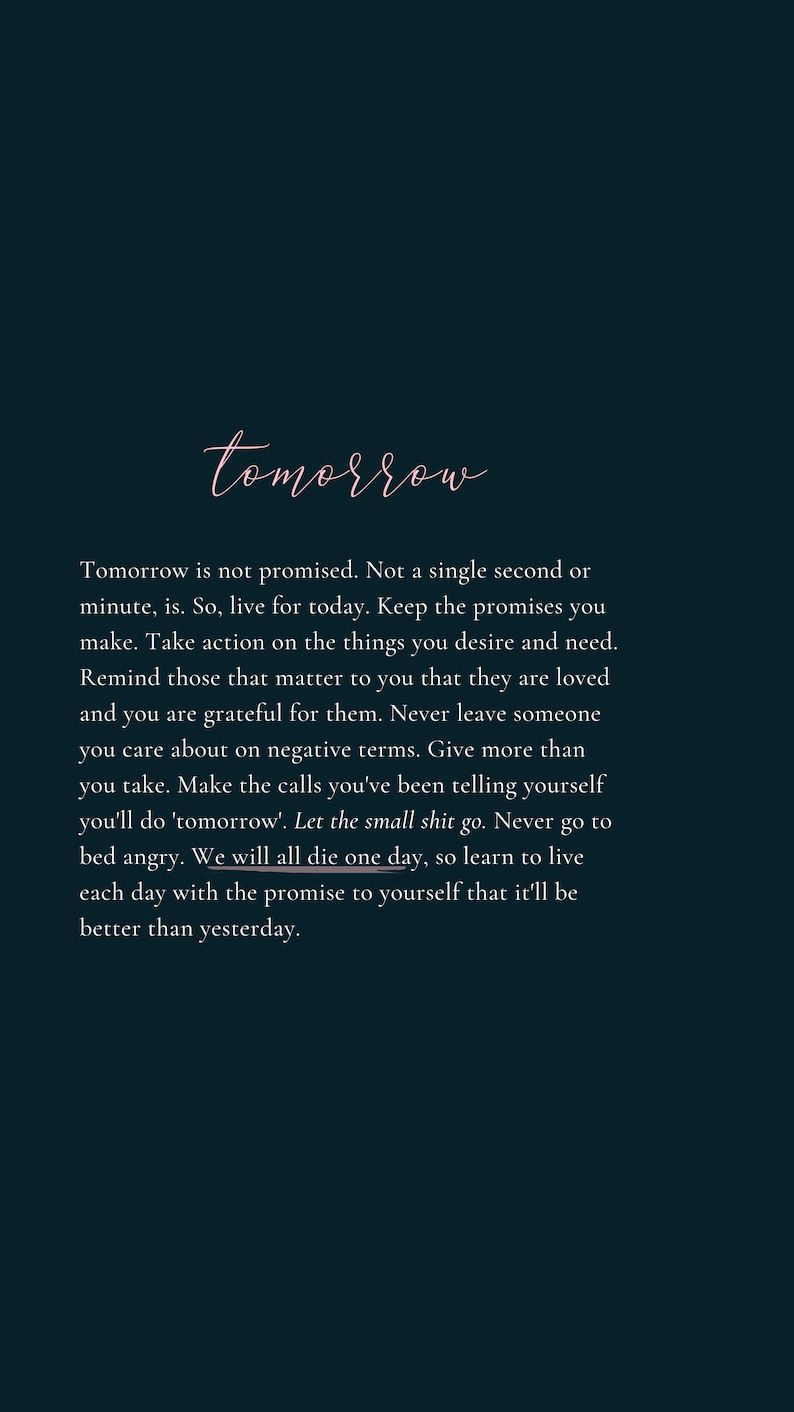 Tomorrow Quote by Tiffany Moule