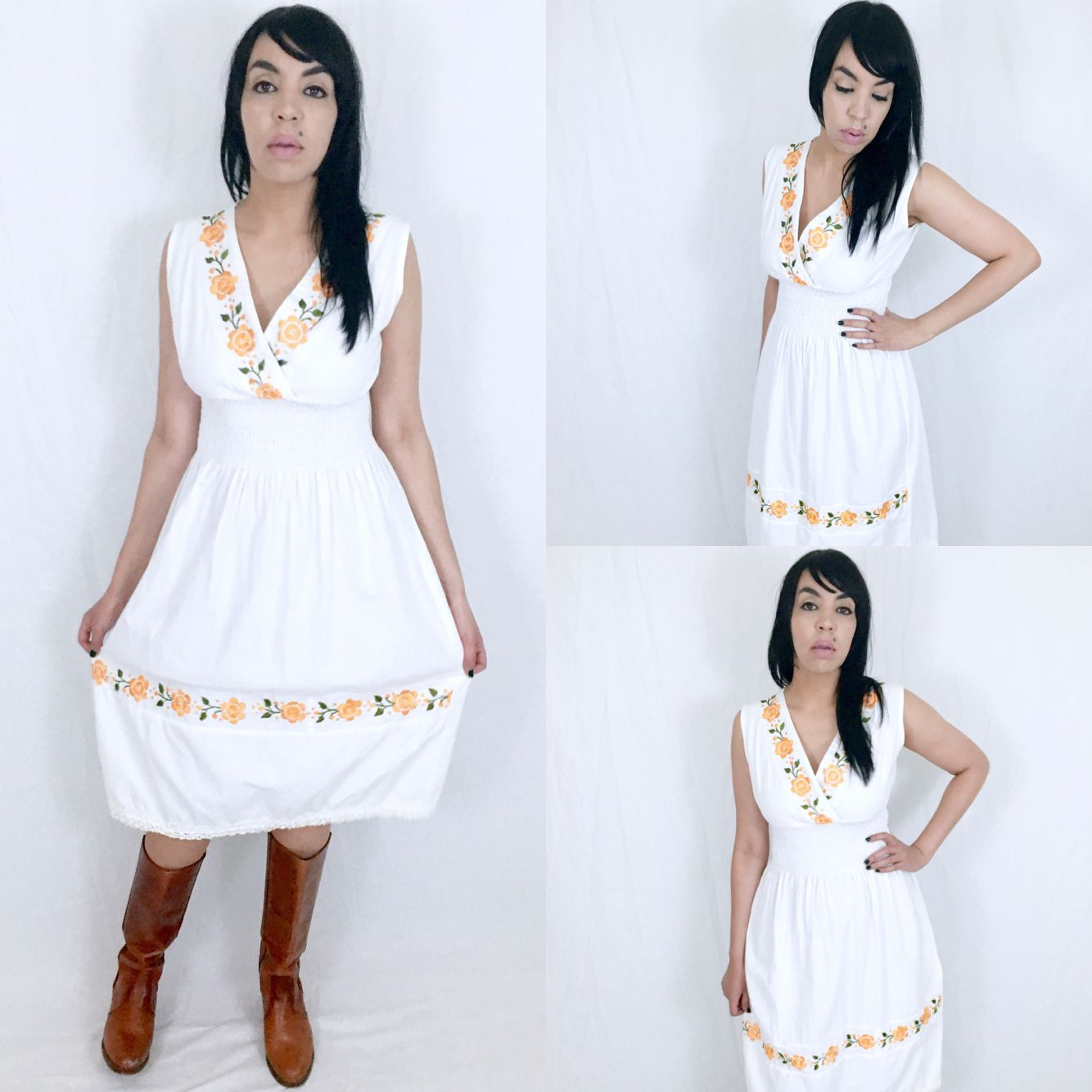 Vintage 70s White Mexican Flower Embroidered Crossover V-Neck Smocked Waist Cotton Gauze Sleeveless Sun Dress M $68.00  https://www.etsy.com/listing/464531302/vintage-70s-white-mexican-flower