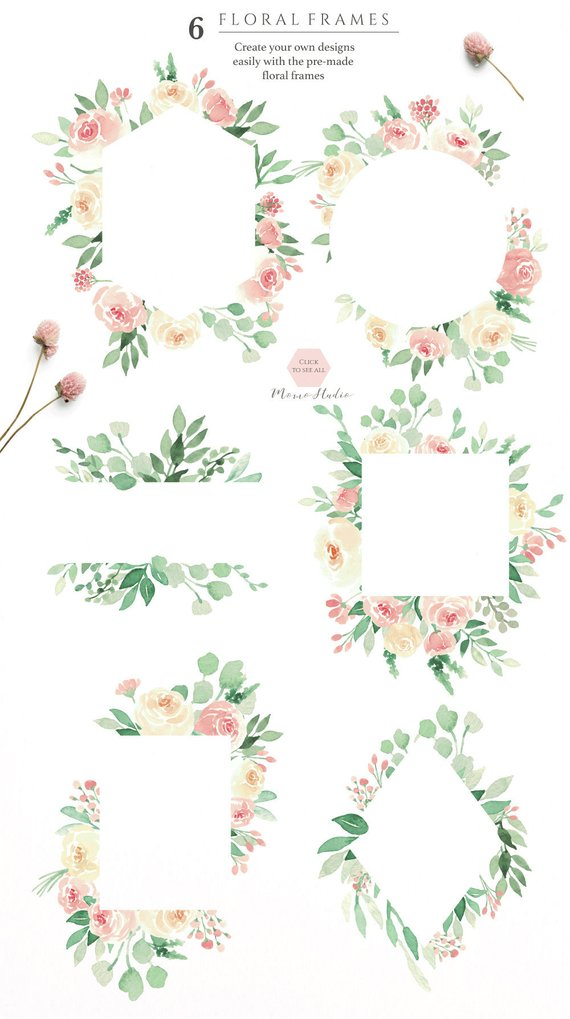 watercolor floral frames  floral greenery blush floral frames    spring summer greenery    wedding