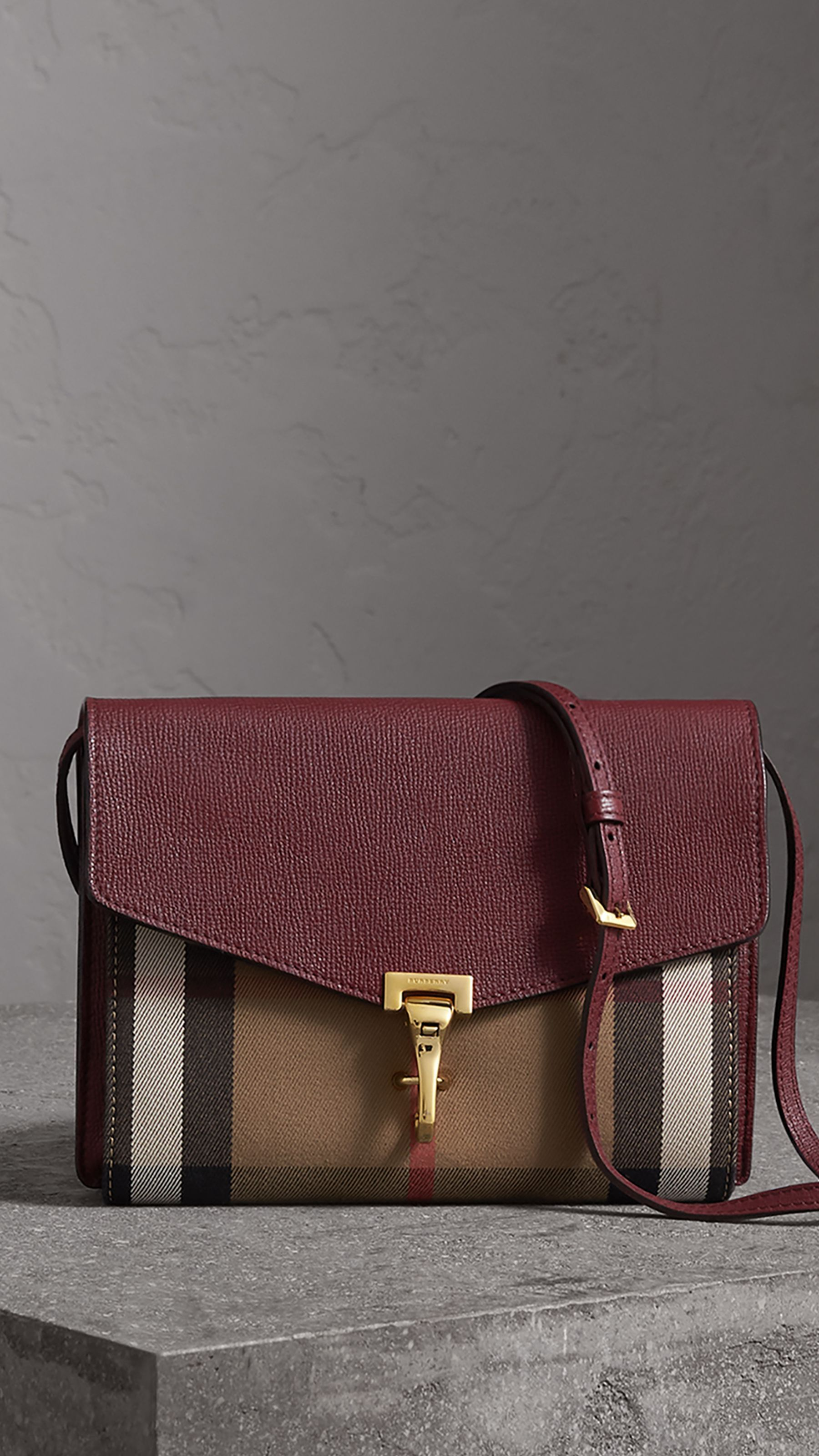 Small Leather and House Check Crossbody Bag in Mahogany Red - Women  a2a2456f3a63b