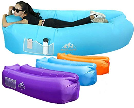 Indoor or Outdoor Gift for Backyard Lakeside Beach Traveling Air Lounger for Use or Inflatable Lounge for Camping Picnics One Into Inflatable Lounger Air Sofa with Portable Package for Travelling