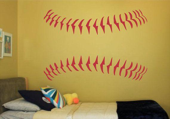 Baseball Stitches Softball Stitches Baseball Wall Decal Etsy
