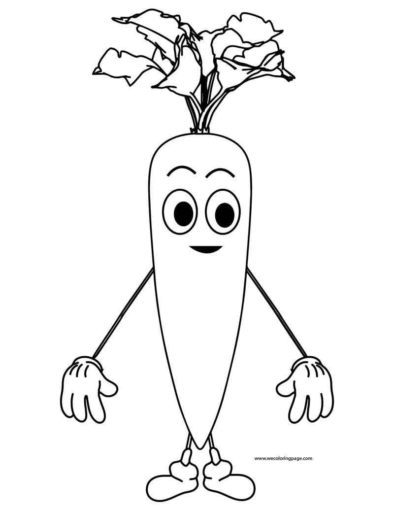 Very Cute Cartoon Carrot Coloring Page Di 2020
