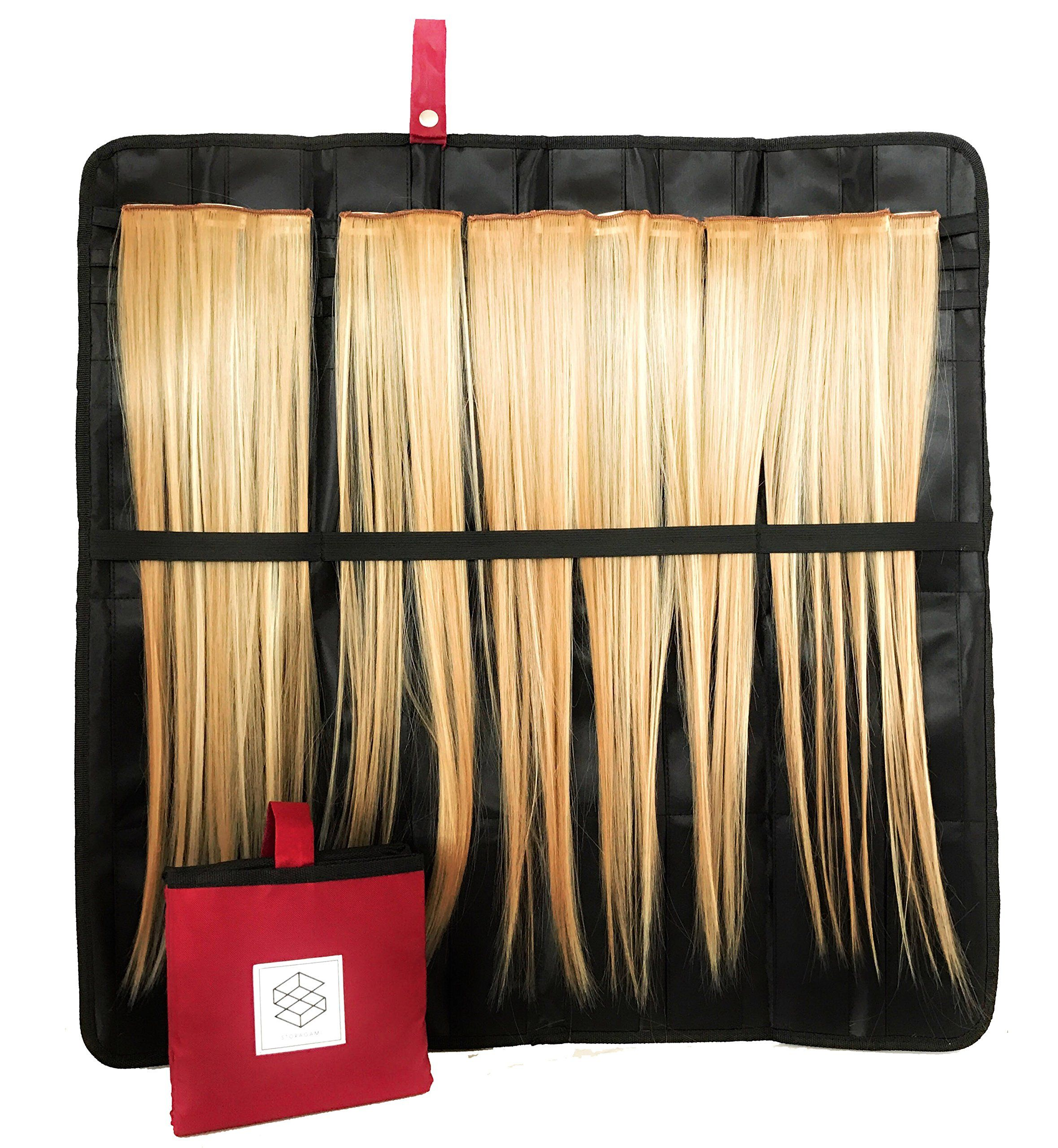 Compact Hair Extension Storage Case Styling Holder W Hang Handle