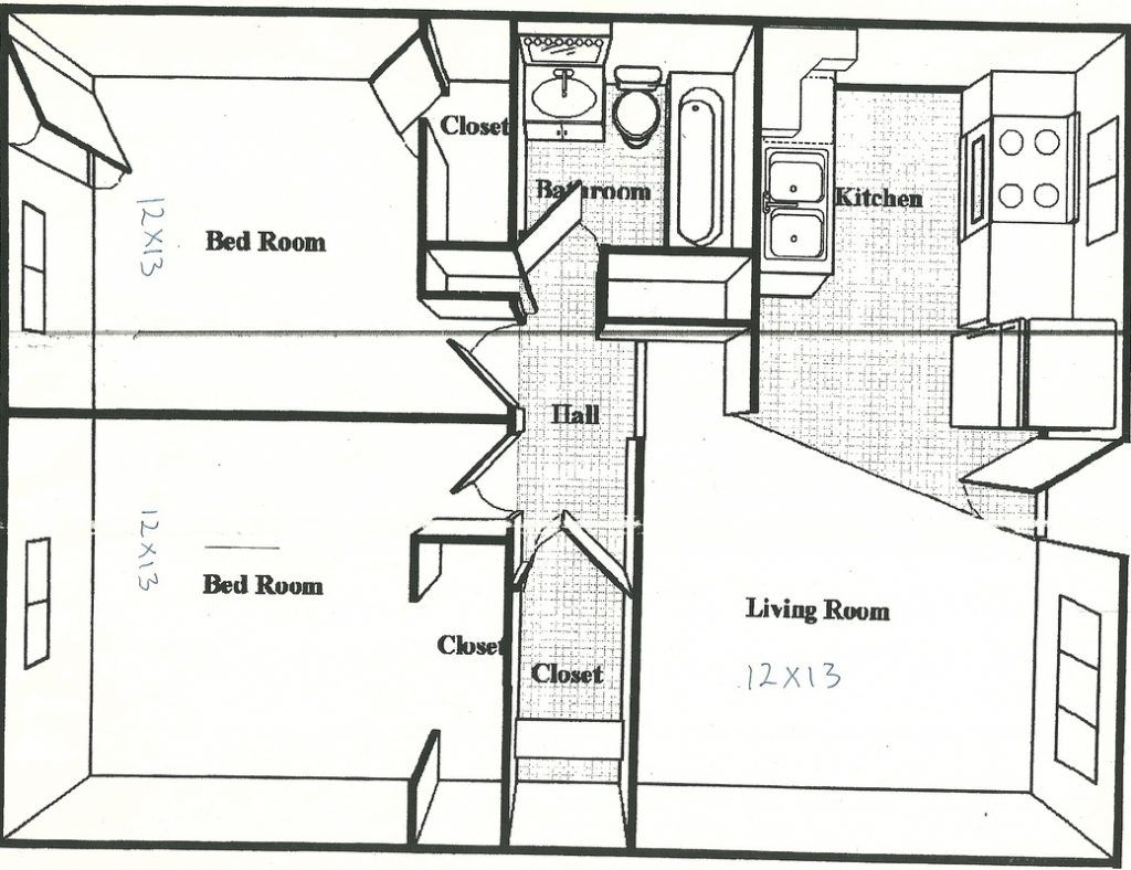 500 square feet house plans 600 sq ft apartment floor plan for Efficiency apartment floor plans