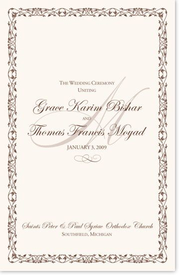 Celtic Leaf And Watermark Wedding Programs Template Wedding Programs Wording Custom Wedding Program
