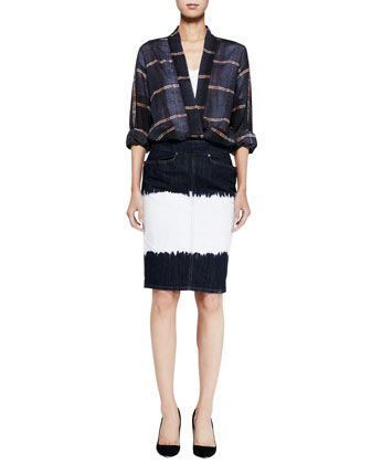 Velda Plaid Blouse, Granger Linen Tee & Perrine Dip-Dye Pencil Skirt by Isabel Marant Etoile at Bergdorf Goodman.