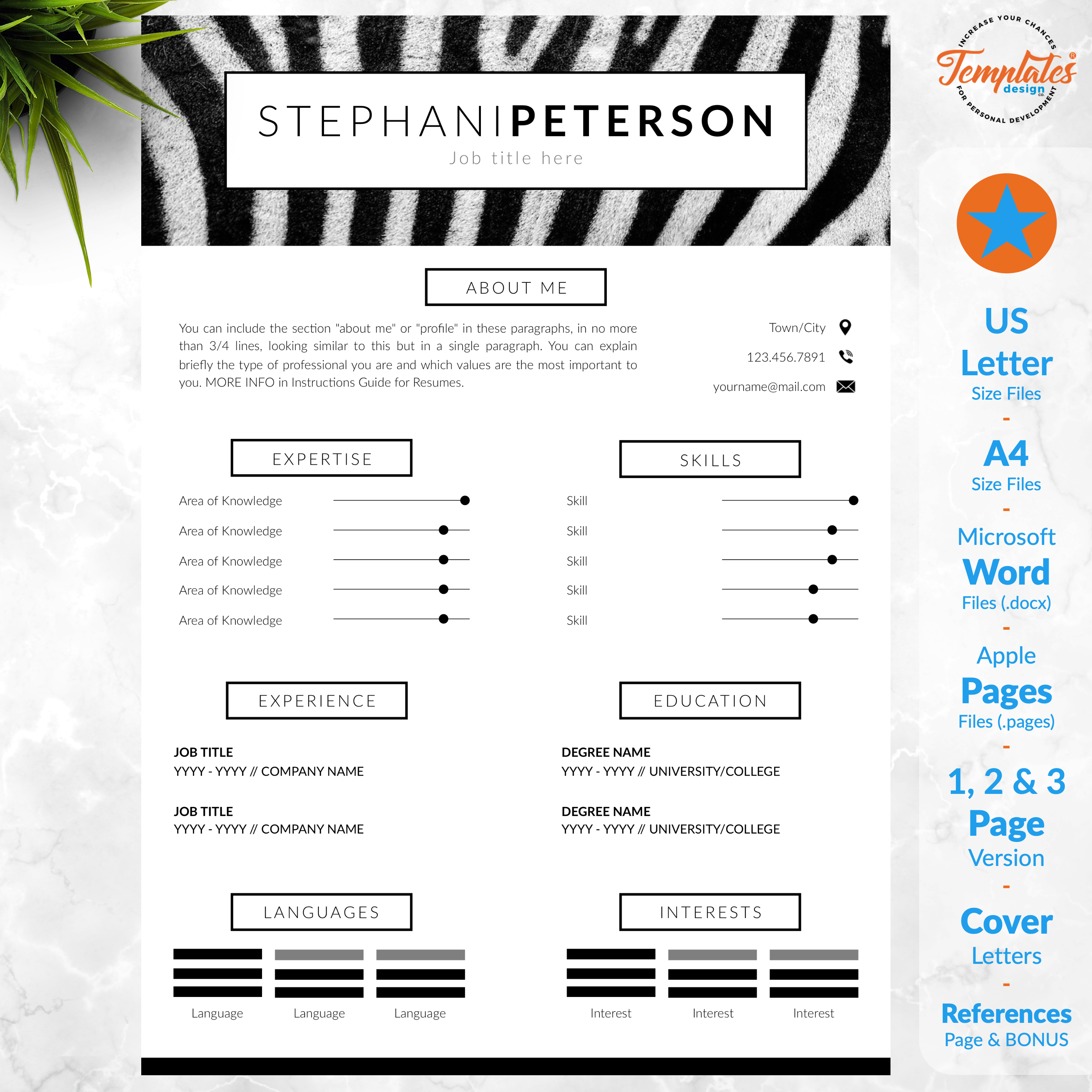 Animal Care Resume Cv Template For Word Pages Creative Cv For Safari Assistant Zoo Director Resume Resume Instant Downloadable Cv Template Resume Template Reference Letter Template