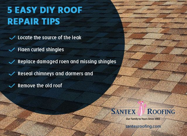 5 Easy Diy Roof Repair Tips Locate The Source Of The Leak Flatten Curled Shingles Replace Damaged Rotten An Roof Repair Roof Replacement Cost Roofing