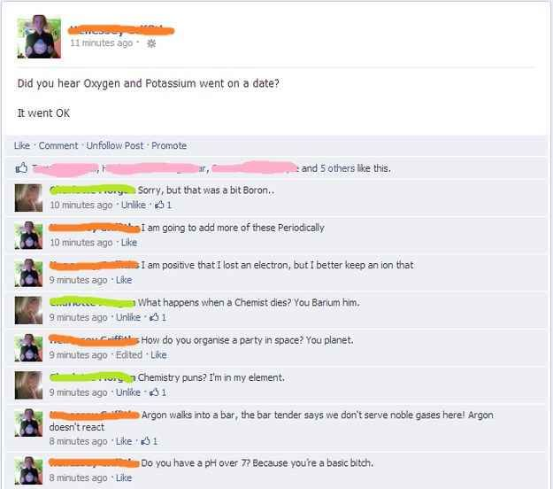 This Facebook Thread Science Jokes Chemistry Jokes Nerd Jokes