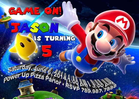 super mario birthday invitation party super mario bros super mario galaxy space super mario birthday mario birthday party mario birthday pinterest