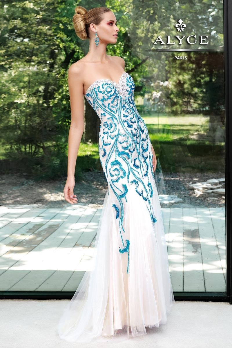 Long strapless white mermaid dress with turquoise blue beaded ...