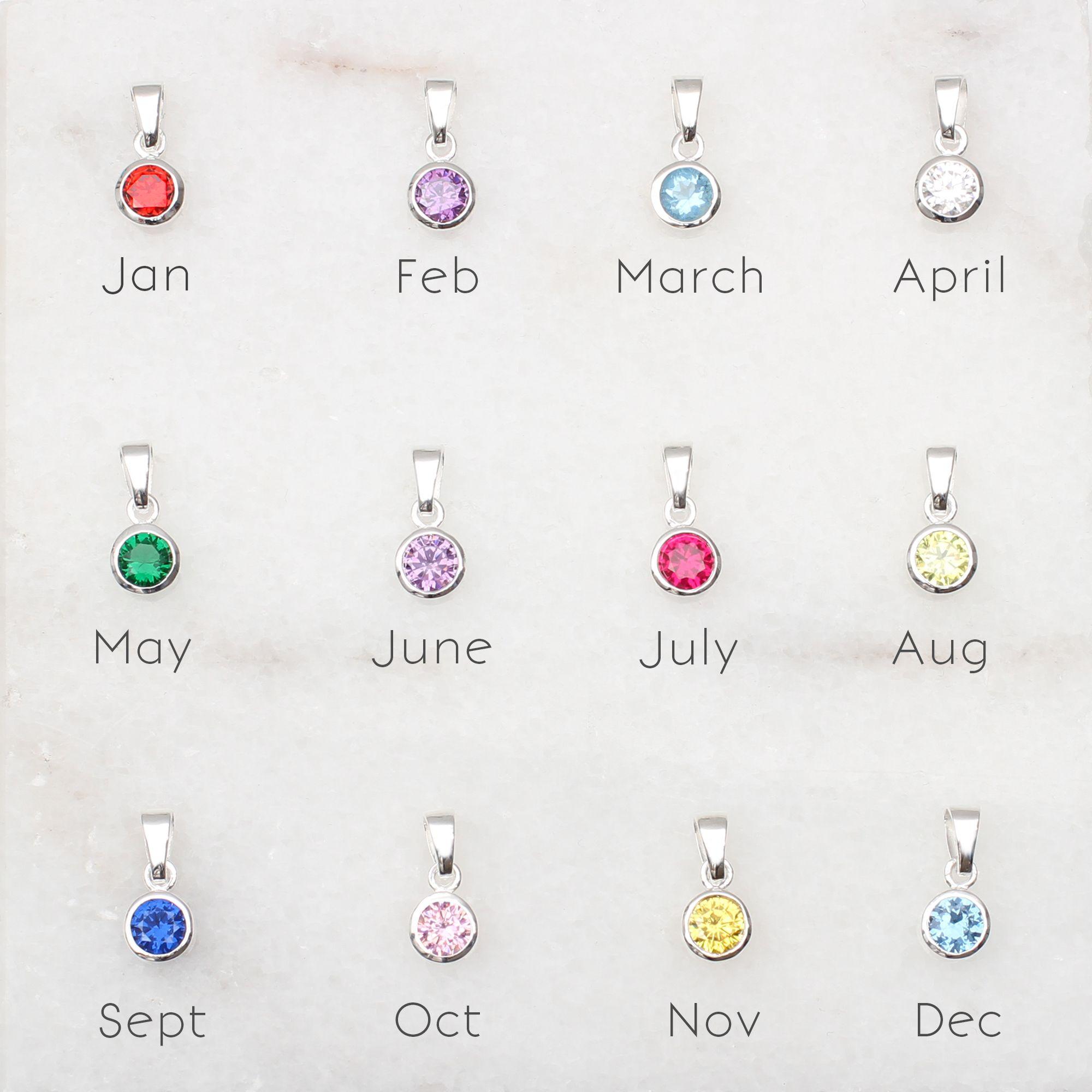 Sterling Silver And Swarovski Crystal Birthstone Charm Sterling Silver Birthstone Necklace Birthstone Pendant Birthstone Charms