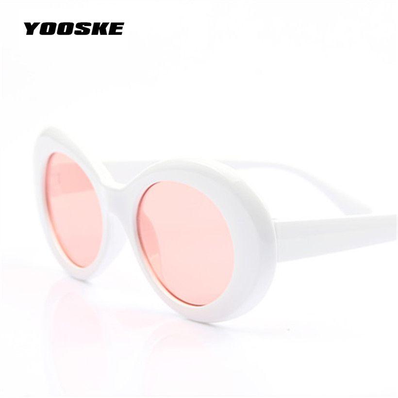 40d1443b5d Clout Goggles Kurt Cobain Sunglasses Transparent Clear Lenses Glasses  Vintage NIRVANA Oval Eyewear Fashion Classic Sun Glasses