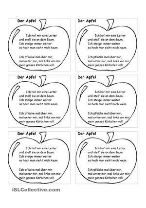 Bildergebnis für gedicht apfel schule | német | Pinterest | Kindergarten