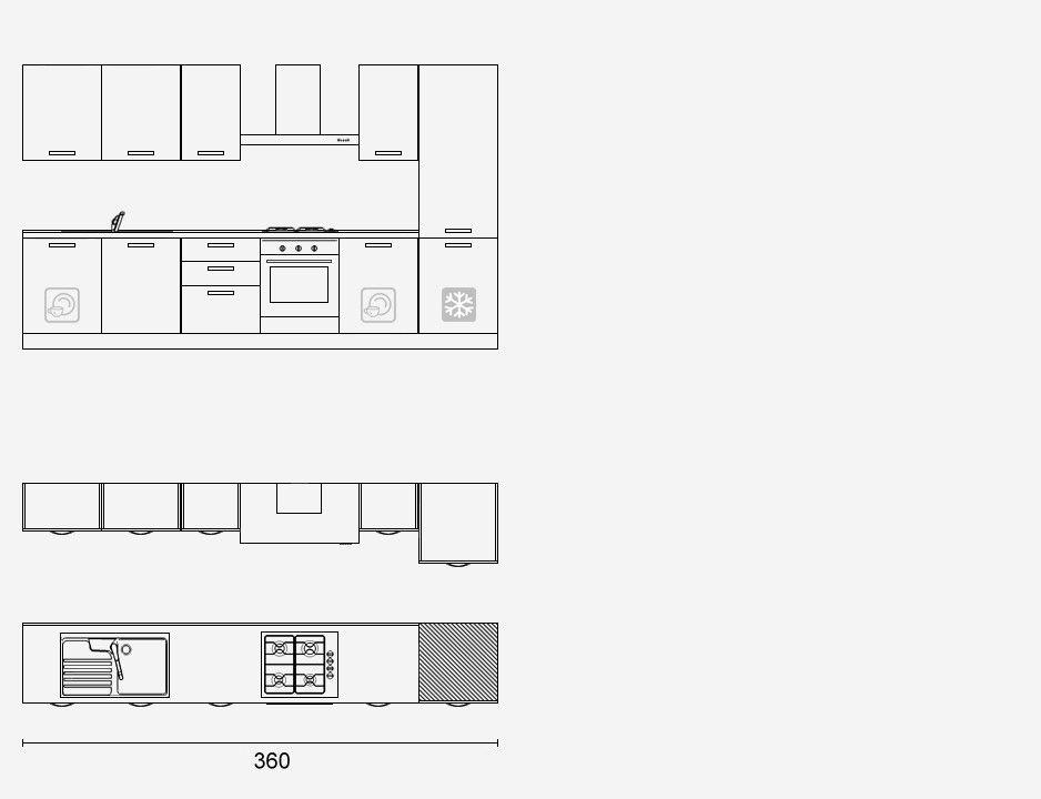1630 - Cucina Lineare cm 360 h. 216 - Composizioni Demo ...