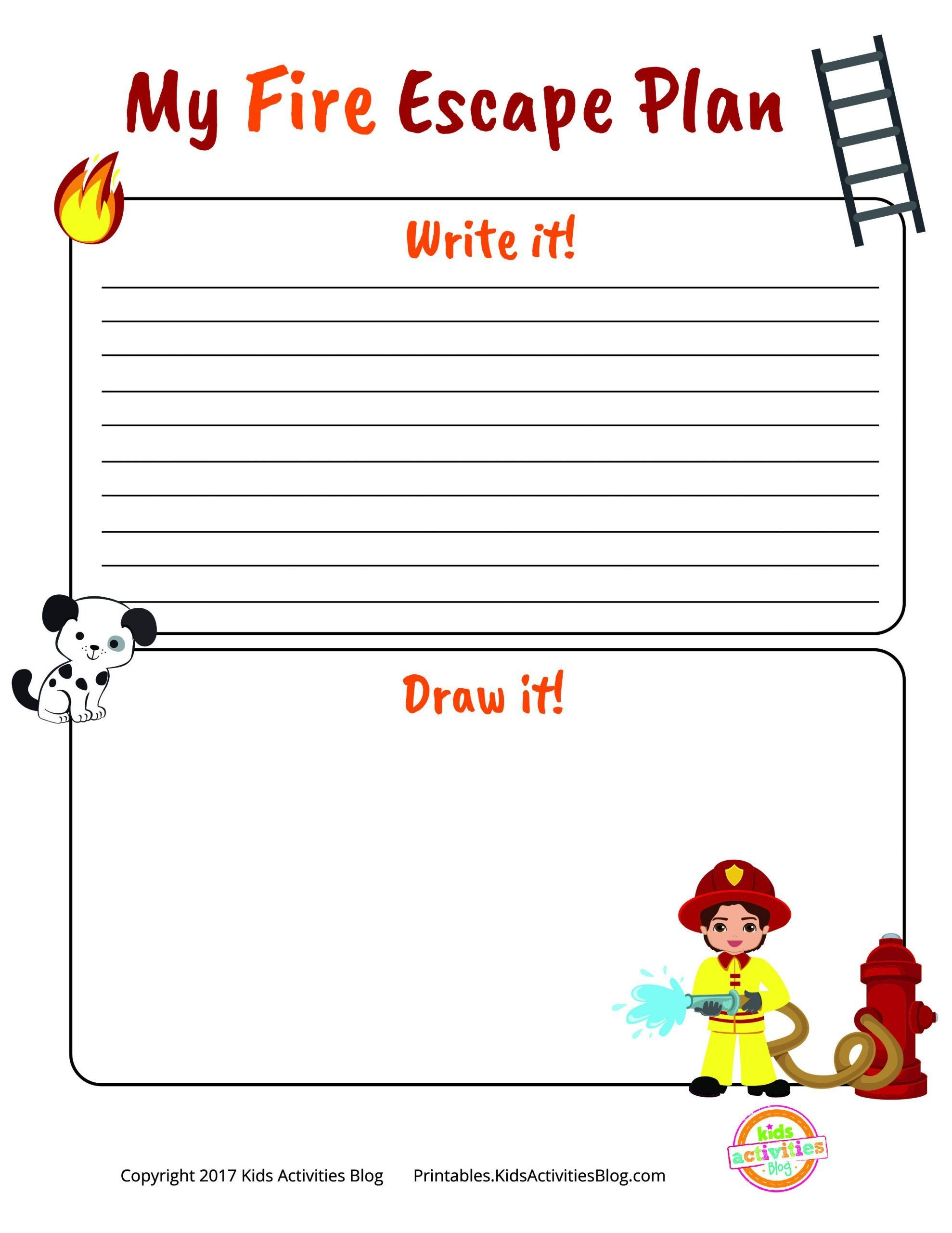 Free Printable Fire Safety Worksheets Fire Escape Plan