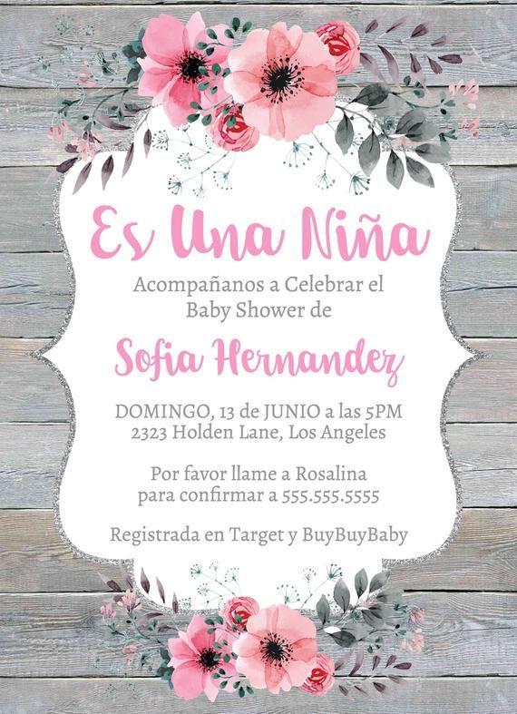 Es Una Niña Rustico Invitación Baby Shower Invitation Template Fiesta De Bebe Nena Flores Rosa Mod Invitaciones Baby Shower Unisex Baby Shower Invitaciones
