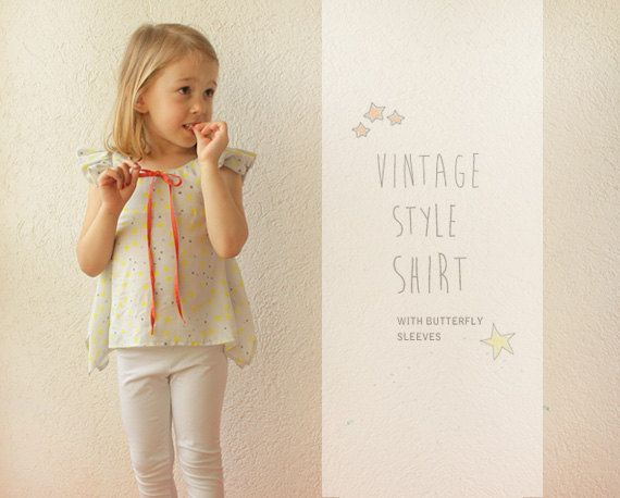 Vintage girls SHIRT pattern - easy PDF sewing patterns for toddlers ...