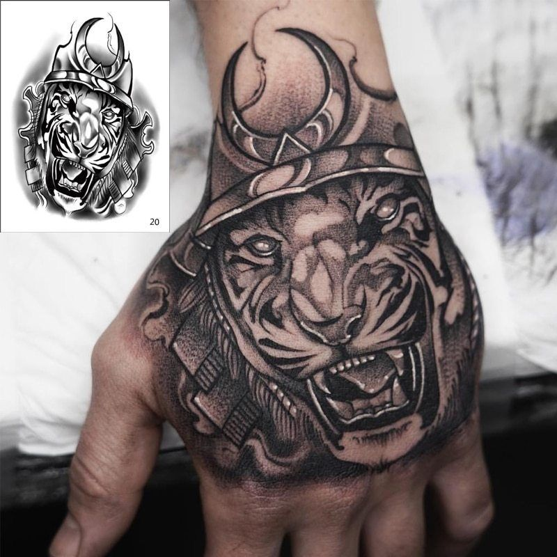 Temporary tatoo men horror king tiger temporary tattoo boy