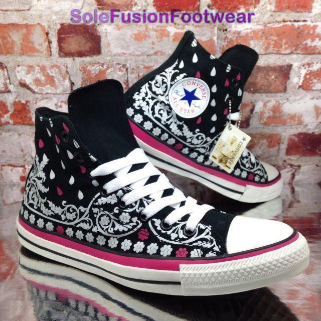 7ee794005d2b Converse mens All Star Bandana Trainers Black sz 9 Hi Sneakers Womens US 11  42.5