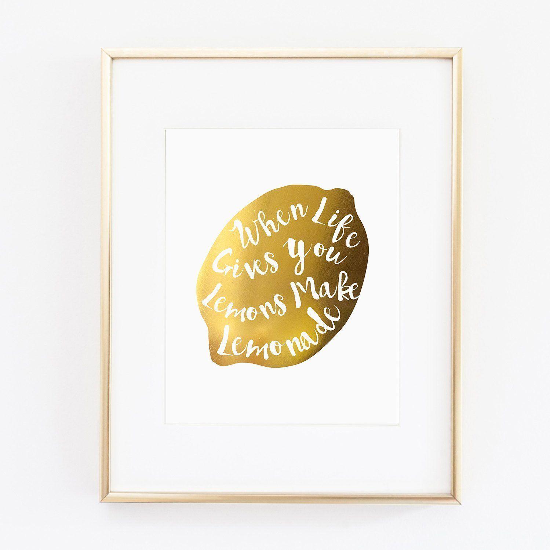 Amazon.com: When Life Gives You Lemons Make Lemonade Gold Foil ...