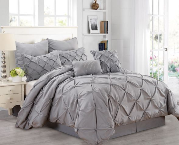 Queen Size Comforter Set 8 Piece Pintuck Pleated Grey Textured Bedding Ensemble #FashionStreet