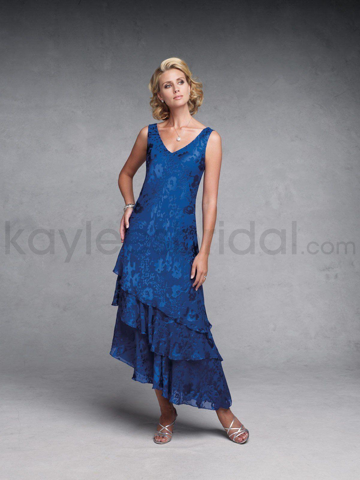Silk chiffon vneck corset bodice slim aline mother bride dress
