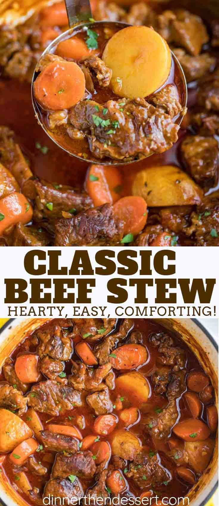 Classic Beef Stew Is A One Pot Comforting And Hearty Made With Beef Vegetables Tomato Paste And Season Beef Stew Recipe Stew Meat Recipes Classic Beef Stew