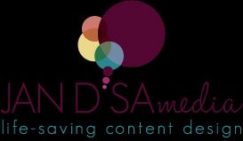 Logo of Jan D'Sa media. Offering life-saving content design and strategy