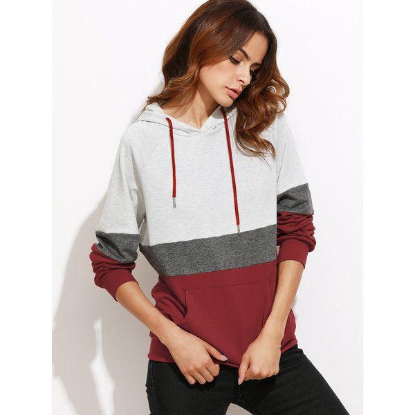 SheIn(sheinside) Color Block Raglan Sleeve Hoodie With Pocket (€16) ❤ liked on Polyvore featuring tops, hoodies, long sleeve hoodie, white hooded sweatshirt, color block hoodies, color block hoodie and long sleeve hoodies