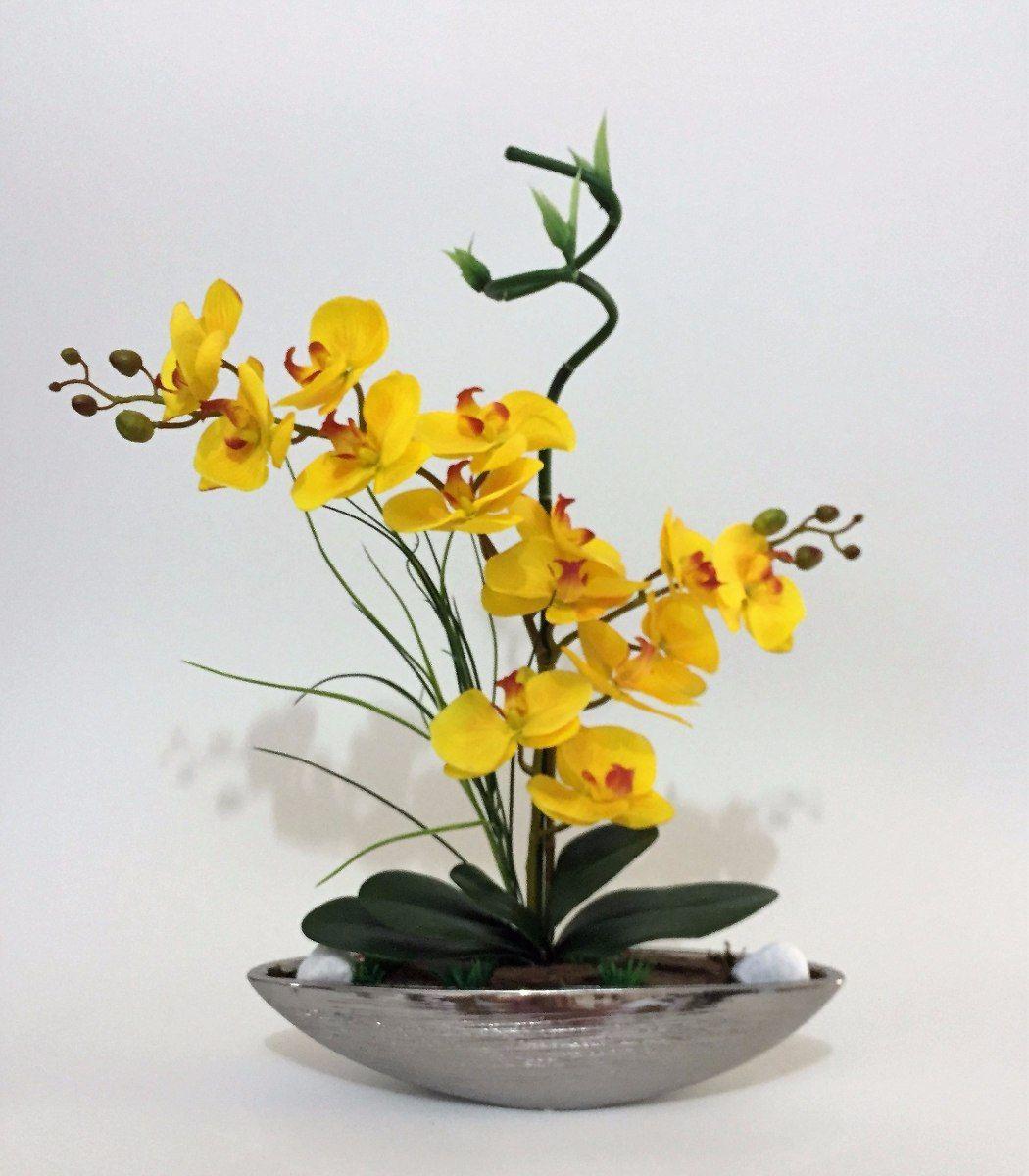 Arranjo De Orquideas Silicone Artificiais Na Porcelana Prata R
