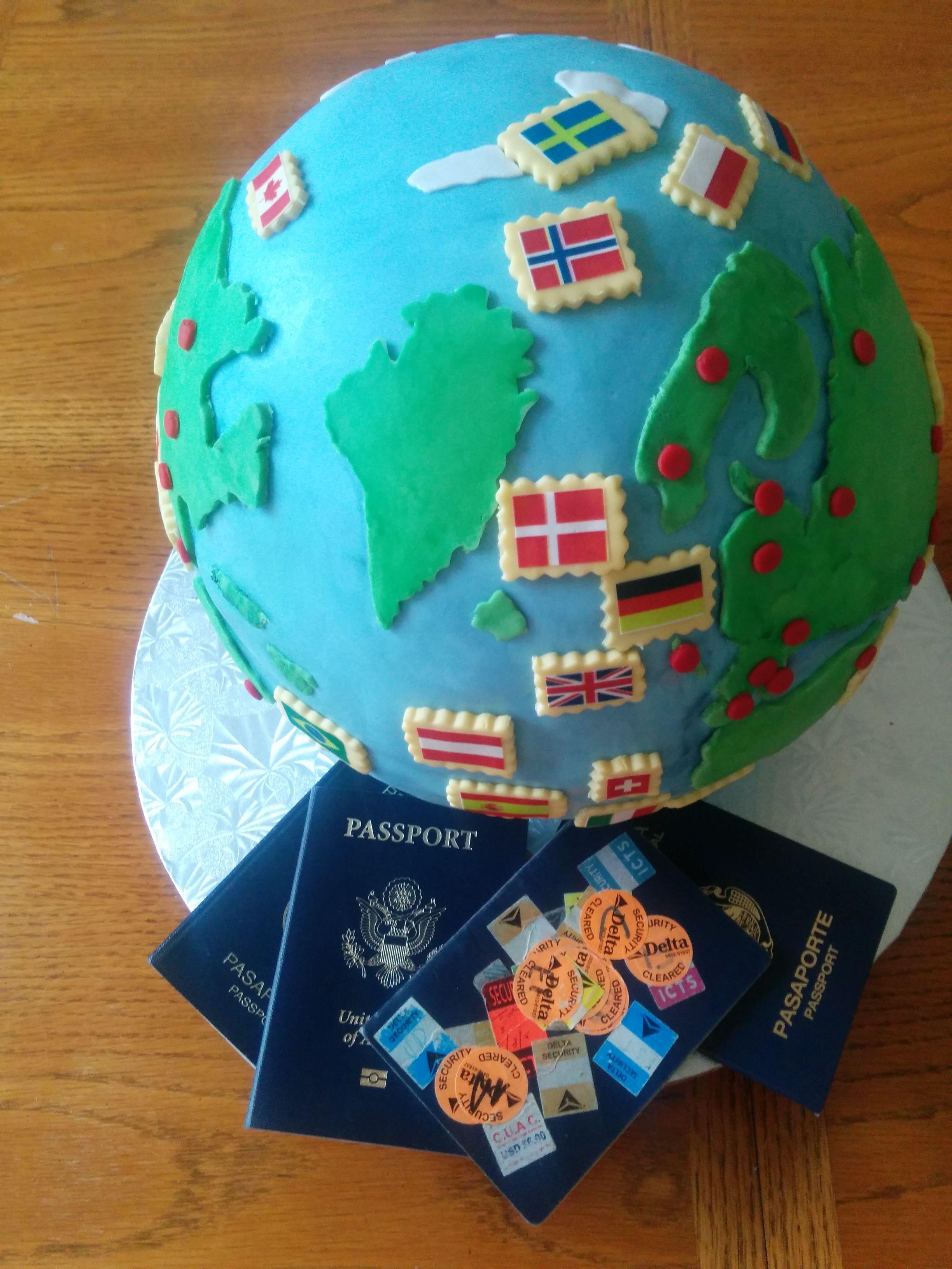 Globe travel birthday cake atlas pinterest birthday cakes map cakes google search gumiabroncs Images