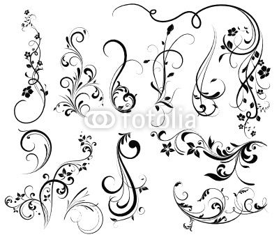 swirl tattoo designs for girls floral silhouette element for design vector tattoo from lana. Black Bedroom Furniture Sets. Home Design Ideas