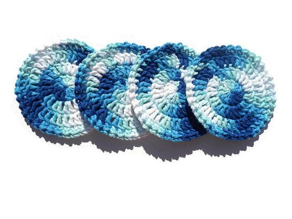 Crochet Round Coasters Shades of Blue Mug Rugs by SimpleLuxuriesNC ‪#‎craftshout0112e‬