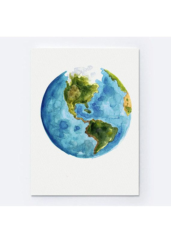 Watercolor world map painting abstract globe by colorwatercolor watercolor world map painting gift idea abstract globe art print blue green yellow and white planet earth illustration gumiabroncs Choice Image