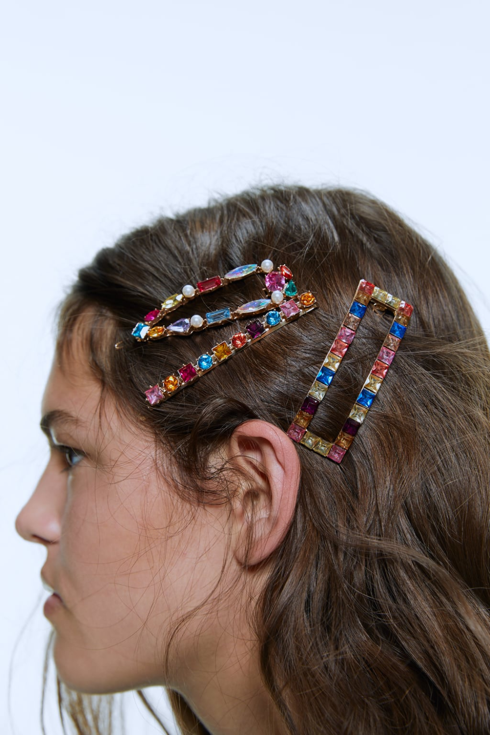Pack Of Multi Colored Jewel Hair Clips Zara United States Jewelled Hair Clips Hair Clips Clip Hairstyles