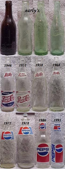 Pepsi bottles ~~ my favorite design is 1946, and it is the one that