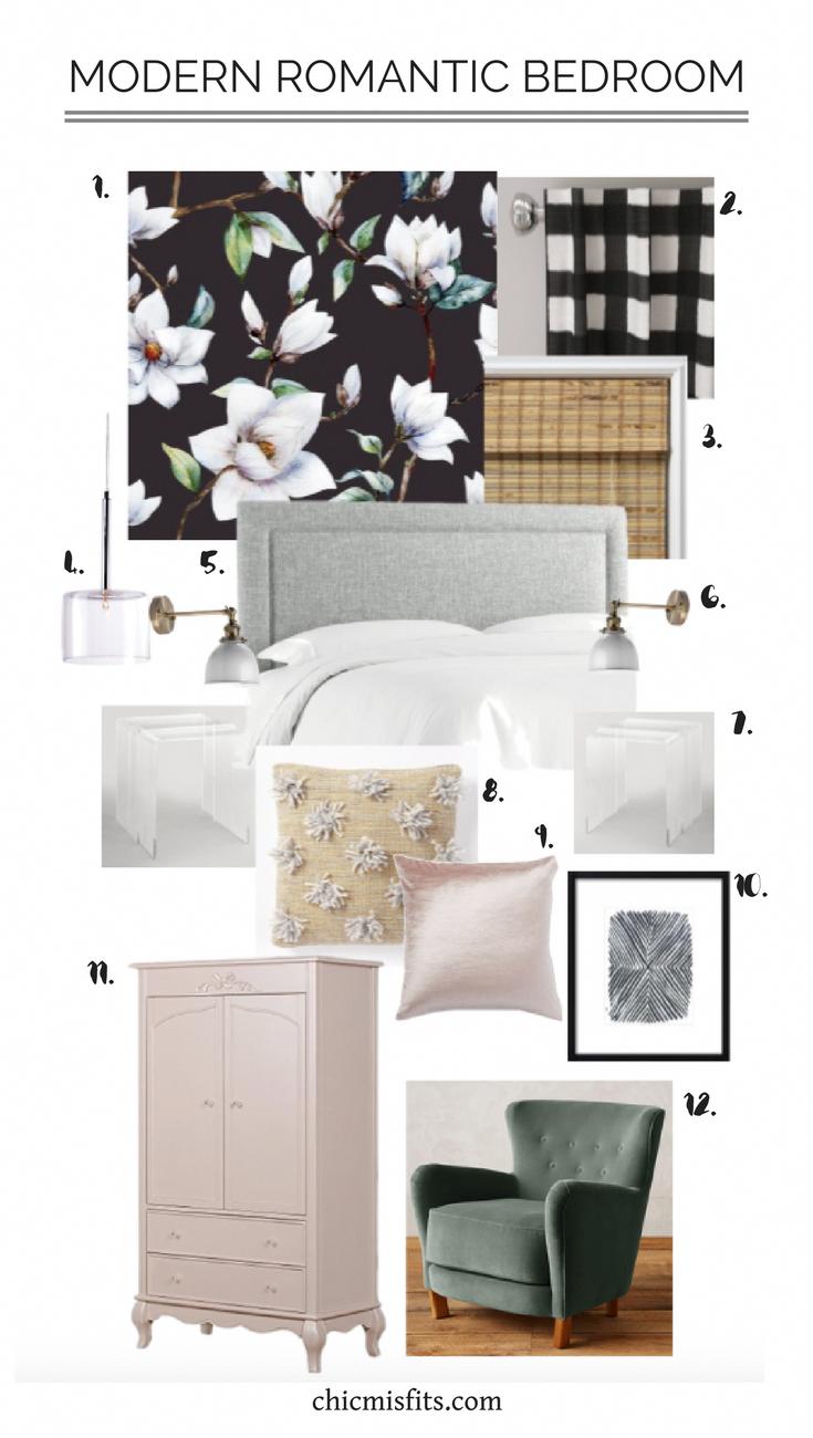 Modern romantic bedroom bedroom makeover bedroom source list