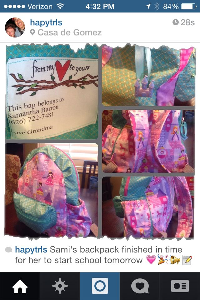 Sami's backpack finished in time for the start of school