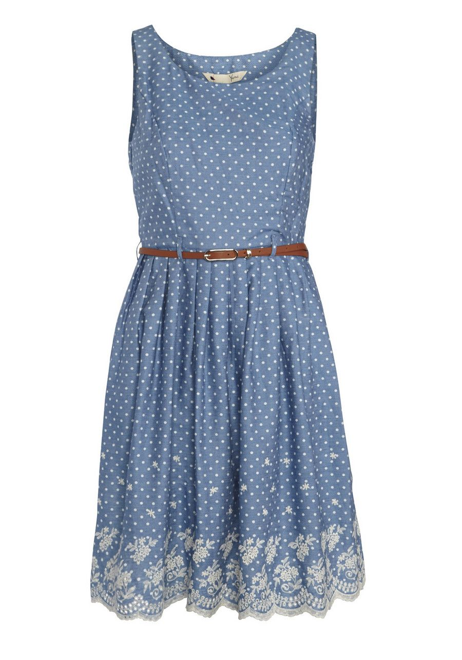 Clothing at Tesco | Yumi Spot Print Embroidered Scallop Hem Dress ...