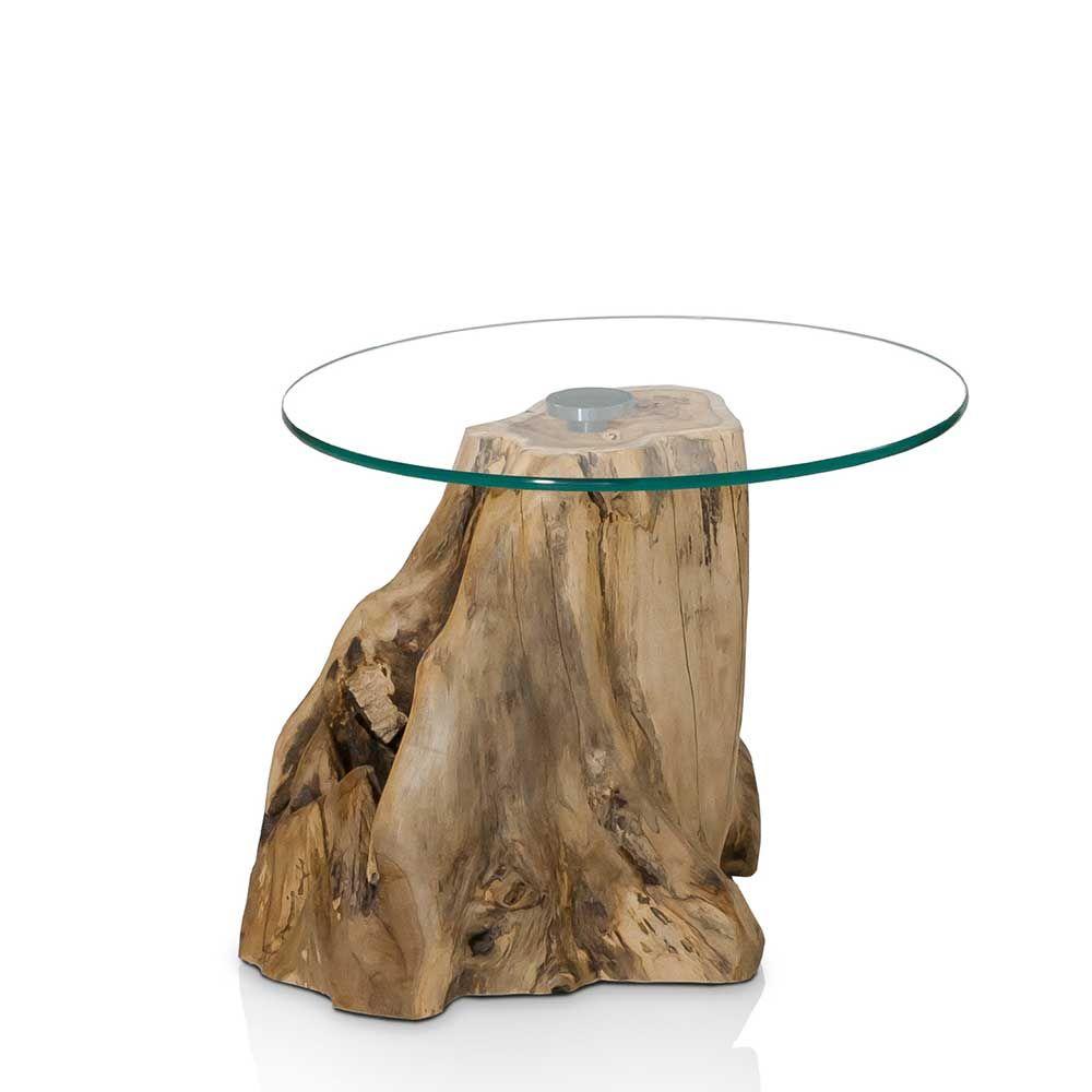 Ablagetisch mit runder Glasplatte Baumstumpf massiv Jetzt bestellen ...