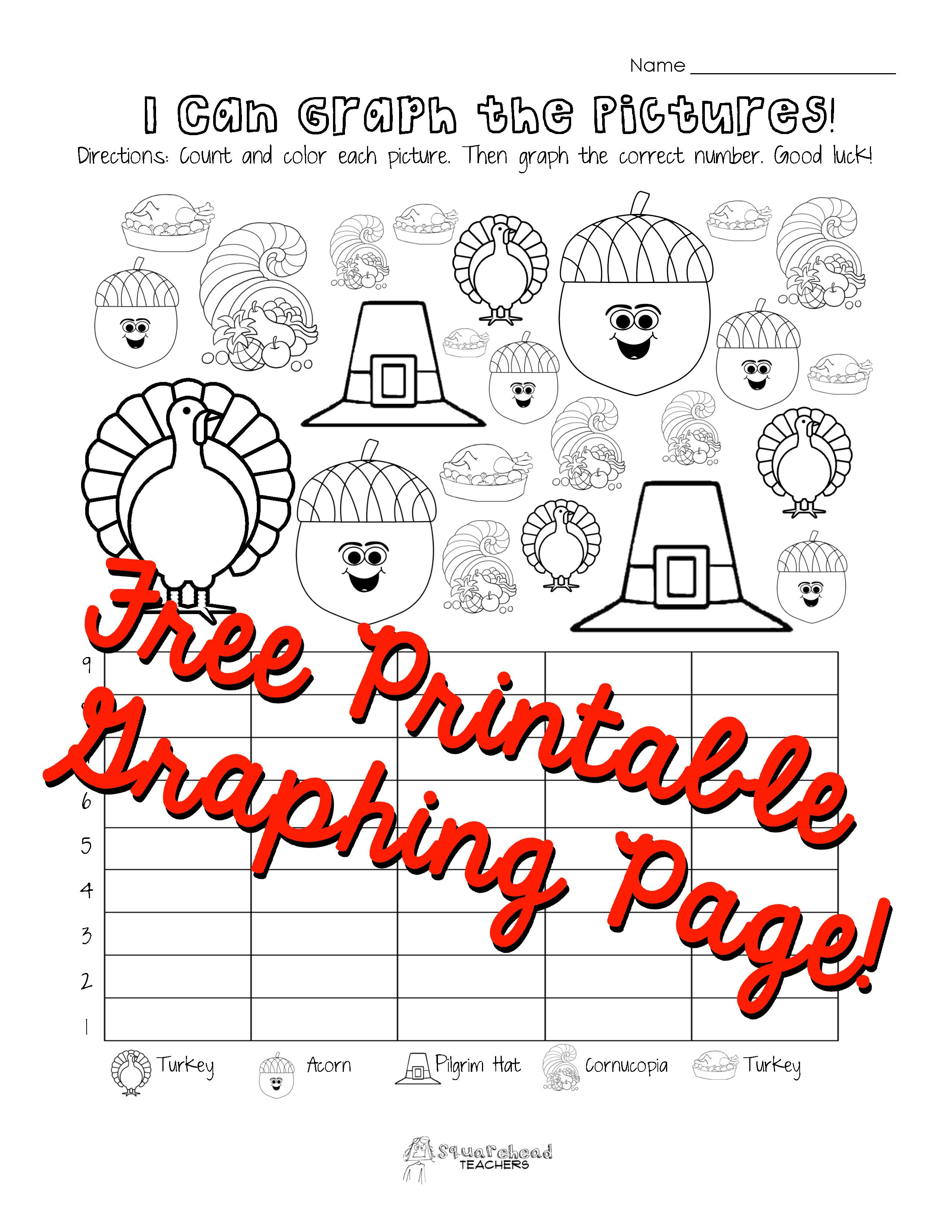 Thanksgiving Graphing Page Kindergarten First Grade Graphing Kindergarten Thanksgiving Kindergarten Graphing First Grade