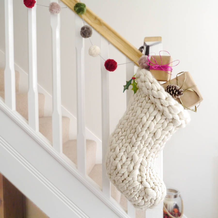 Chunky hand knitted christmas stocking stockings knitted chunky hand knitted christmas stocking bankloansurffo Choice Image