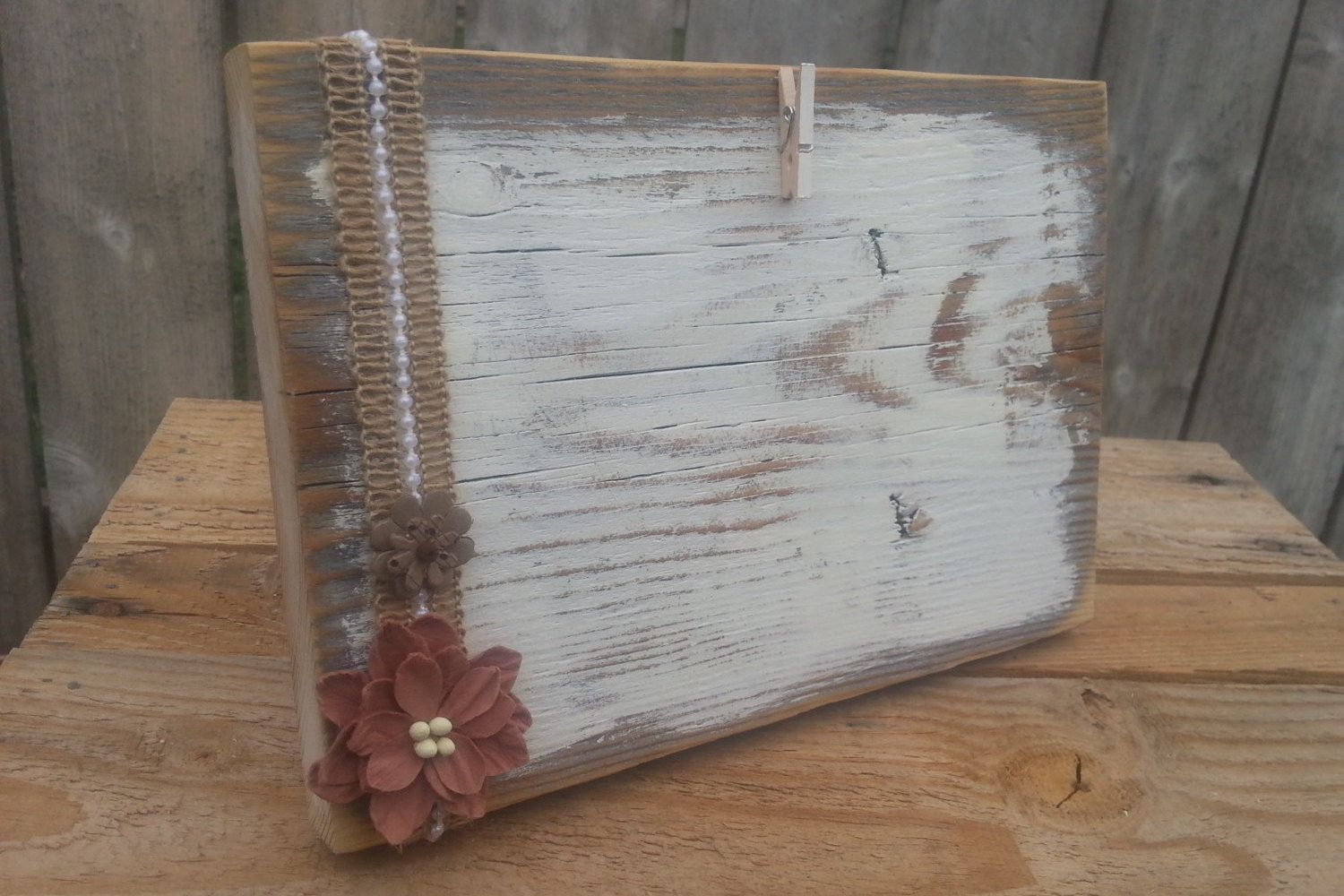 8x5 Rustic picture frame, distressed wood frame with clothespin ...