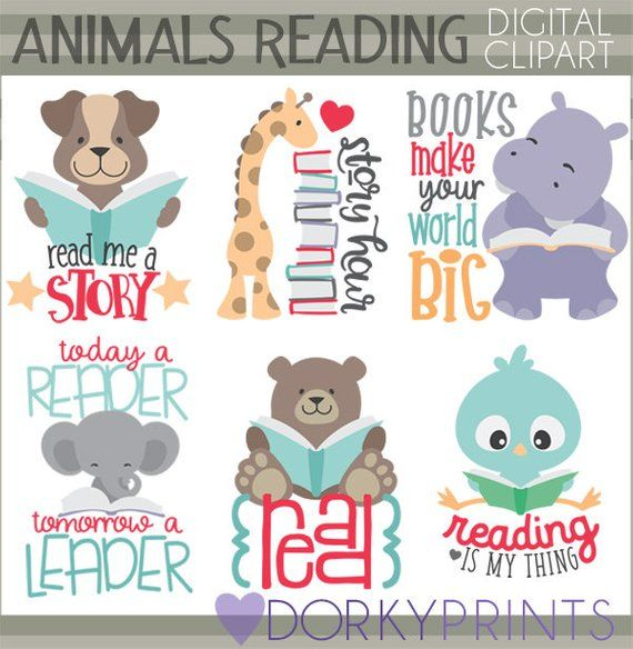 Animals Reading Clipart Personal And Limited Commercial Use Etsy Clip Art Book Clip Art Animal Clipart