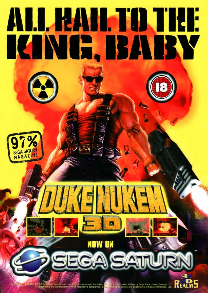 The Sega Saturn version of Duke Nukem 3D was developed by Lobotomy Software and published by Sega. The game is quite different to the PC version, as it uses the full 3D Lobotomy Engine, which allows for coloured lighting, proper up/down looking and other nice effects. They still had to chop out a bunch of animation, though.