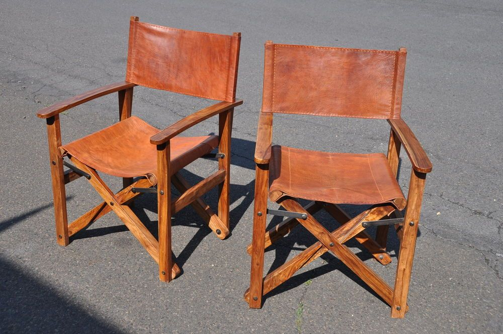 Pair Of Leather Amp Teak Folding Safari Chairs Chair